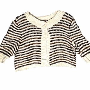 Nic+Zoe XL cropped crocheted sweater (D8)